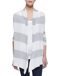 Splendid Striped Open Draped Cardigan Gray - Lyst