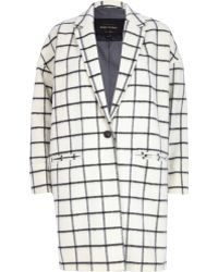 River Island Cream Wool-Blend Check Oversized Coat - Lyst