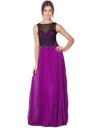 Badgley Mischka Sheer Pleated Skirt Gown purple - Lyst