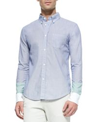 Band of Outsiders Colorblock Button-Down Shirt - Lyst
