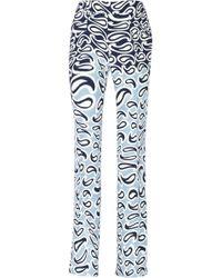 Miu Miu Printed Crepe Wide-leg Pants - Lyst