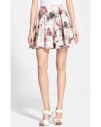 Haute Hippie Women'S Floral Print Stretch Cotton Miniskirt - Lyst