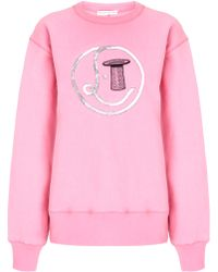 Olympia Le-Tan Pink Sequinned Logo Jumper - Lyst