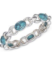 Jones New York - Silver-Tone Faux-Turquoise Stretch Bracelet - Lyst