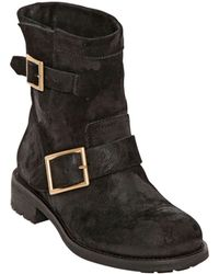 Jimmy Choo 30Mm Youth Waxed Suede Boots - Lyst