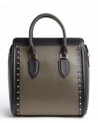 Alexander McQueen Black Leather Goldtone Beaded Accent Top Handle Bag - Lyst