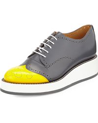 The Office Of Angela Scott - Perforated Leather Oxford Shoes - Lyst