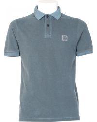 Stone Island Grey Cotton Polo Shirt - Lyst