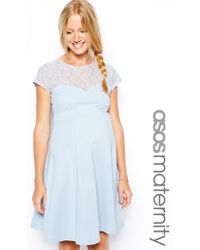 Asos Maternity Skater Dress With Lace Insert - Lyst