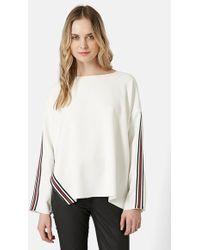 Topshop Contrast Stripe Sweater - Lyst