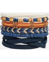 ASOS - Leather Bracelet Pack In Blue - Lyst