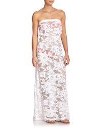 Shoshanna Strapless Lace Maxi Dress white - Lyst