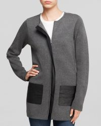 Calvin Klein Faux Leather Trim Cardigan - Lyst