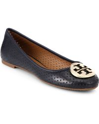 Tory Burch Reva Perforated Leather Ballet Flats - Lyst