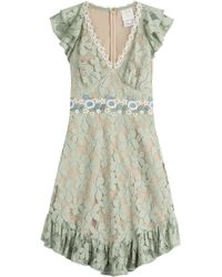 Anna Sui Embroidered Lace Dress green - Lyst