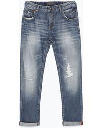 Zara Ripped Boyfriend Jeans - Lyst