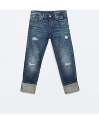 Zara Selvedge Denim Relaxed Fit Jeans - Lyst