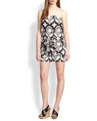 Diane von Furstenberg Miranda Cotton & Silk Strapless Printed Short Jumpsuit - Lyst