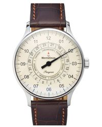 Meistersinger - 'pangaea Day Date' Automatic Single Hand Leather Strap Watch - Lyst