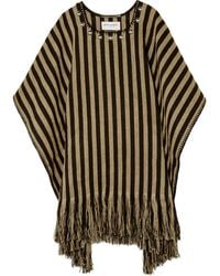 Saint Laurent Studded Striped Linen Poncho brown - Lyst