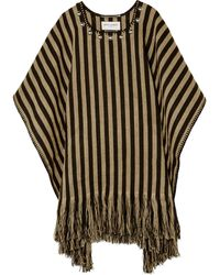 Saint Laurent Studded Striped Linen Poncho - Lyst