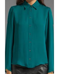f006ac3a113519 Jay Godfrey - Mellon Long Sleeve Blouse with Lace Up Back in Teal - Lyst