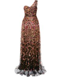 Marchesa Floral Embroidered One Shoulder Draped Tulle Gown - Lyst