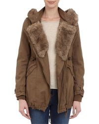 Barneys New York Faux Furtrim Hooded Twill Jacket - Lyst