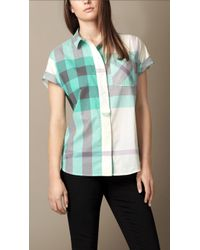 Burberry Exploded Check Cotton Voile Shirt - Lyst