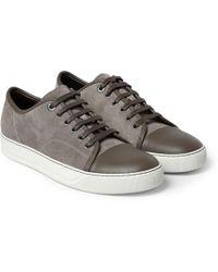Lanvin Suede Calfskin Sneakers - Lyst