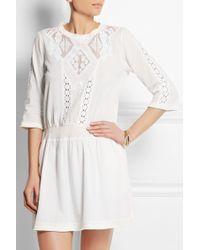Sea Lace-paneled Cotton Mini Dress - Lyst