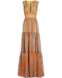 Issa Orange Long Dress - Lyst