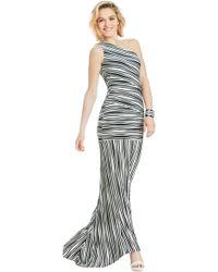 ABS By Allen Schwartz Stripe One Shoulder Gown - Lyst