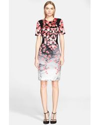 Prabal Gurung Petal Print Duchesse Satin Dress pink - Lyst