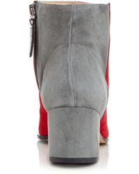 1444df8225436 Carmelinas Ana Ankle Boot In Red And Gray Suede