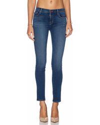 J Brand Skinny Mid-Rise Stretch-Denim Jeans - Lyst