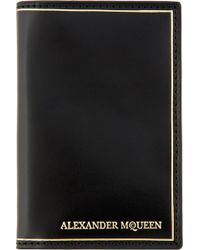 Alexander McQueen Black Leather Gold Trim Bifold Wallet - Lyst