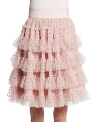 RED Valentino Tiered Dot-tulle Skirt - Lyst