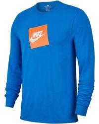 babdd663 Nike Long Sleeve Futura Box Logo T Shirt Grey in Gray for Men - Lyst