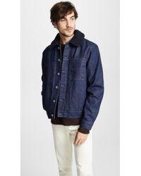 A.P.C. - Michigan Faux Fur Collar Jean Jacket - Lyst
