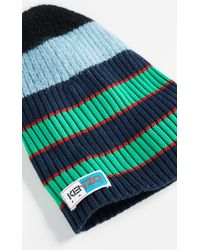 KENZO - Stripy Cable Wool Beanie - Lyst