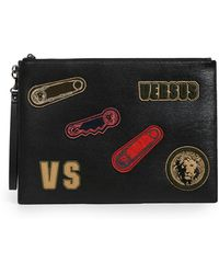 Versus - Embellished Leather Large Pouch - Lyst