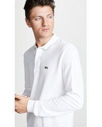 Lacoste - Pique White Ls Polo Shirt L131200001 - Lyst