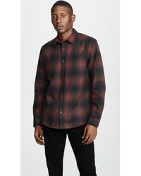 Vince - Shadow Plaid Long Sleeve Shirt - Lyst