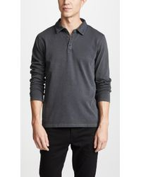 Vince - Garment Dyed Long Sleeve Polo Shirt - Lyst