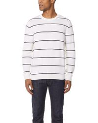 Vince - Striped Textured Crew Sweater - Lyst