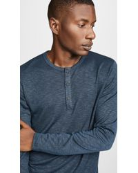 Theory - Snap Long Sleeve Henley Shirt - Lyst
