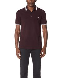 Fred Perry - Contrast Tipped Polo Shirt - Lyst