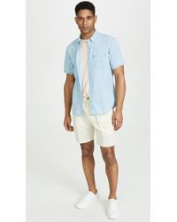 Club Monaco - Short Sleeve Medium Wash Shirt - Lyst