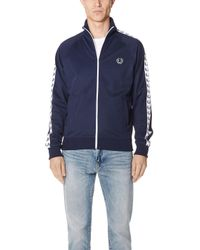 Fred Perry - Sports Authentic Slim Fit Taped Track Jacket Navy - Lyst